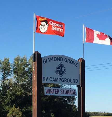 Good Sam flag added to sign at Century Road, Spruce Grove AB