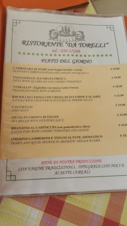 Calambrone, Italy: prima pagina menù