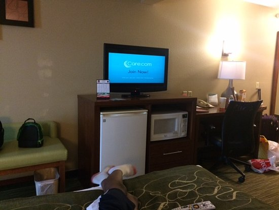 Elkhart, IN: Small fridge and microwave in room