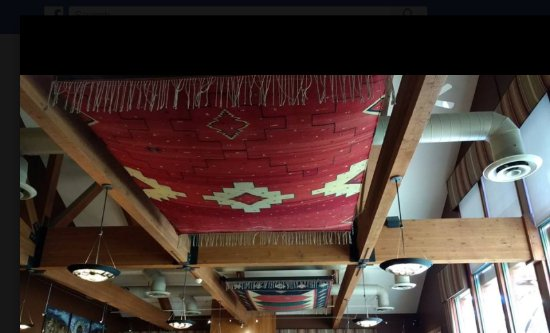 SWITCHBACK GRILLE & TRADING COMPANY : This is one of the beautiful Zapotec rugs displayed at the restaurant.