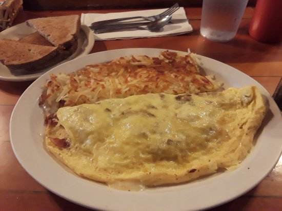 Prospect, OR: Bacon and cheese omelet
