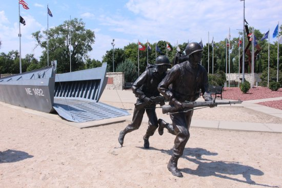 Columbus, NE : Memorial of Landing Craft with Soldiers rushing a beach