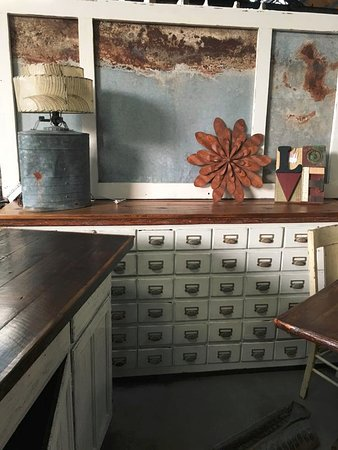 Second Hand Rose: Check Out This Amazing 50+ Drawer Cabinet With Tin Wall  Art