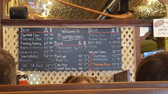 Monroe, WI: Beers on tap at the time