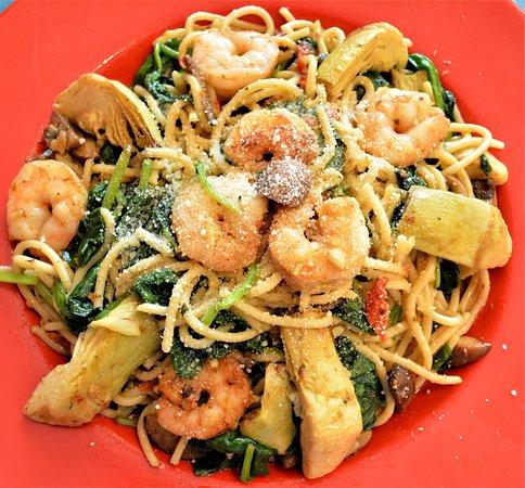 Norton, MA: Our Very Popular Shrimp,Artichoke Hearts & Baby Spinach in a Sundried Tomato Pesto Aglio Olio Sa