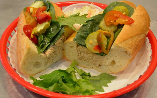 Norton, Массачусетс: Our Real Crabmeat Salad Sub, W/ Baby Spinach, Pickles & hots! Just the Way AJ likes it