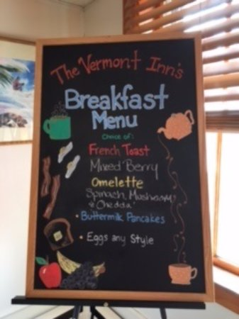 Mendon, VT: Breakfast menu