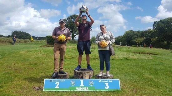 St Austell, UK: Champion's podium, Cornwall footgolf