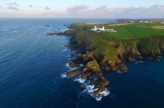 Lizard Lighthouse and Lizard peninsula from the air