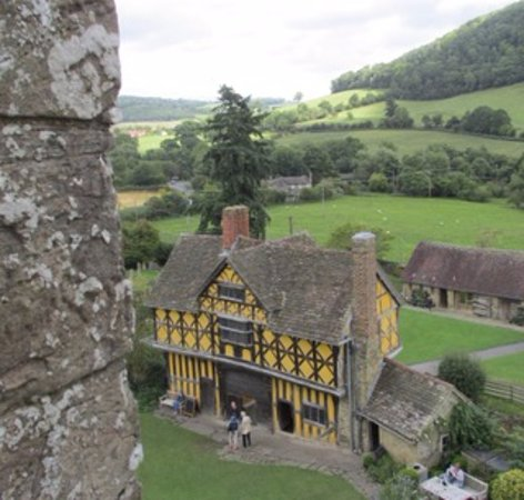 Stokesay Castle: View of gatehouse from castle window