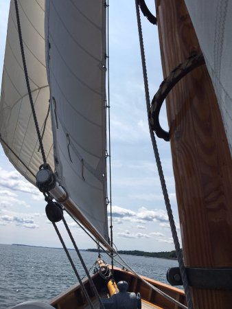 Camden, ME: View from where I was seated looking forward during our sail on the Olad