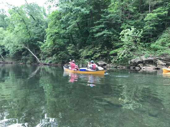 Jasper, AR: Laughing and making fun of the two teenagers trying to steer the canoe