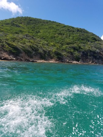 Red Hook, St. Thomas: Rumbaba Charters dinghy trip cant beat the color of the water....