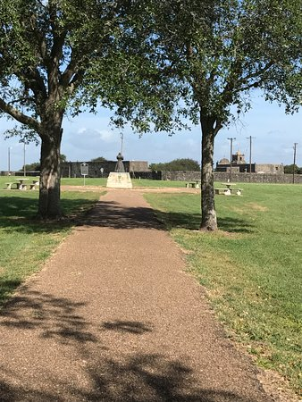 View from the Fannin Memorial - looking back to the Presidio and seeing the Angle of Goliad stat