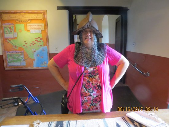 """Goliad, TX: Metal head """"scarf"""" and metal hat. The scarf is HEAVY."""