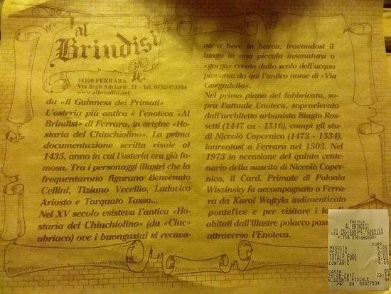 Enoteca al Brindisi: Descrizione storica del locale