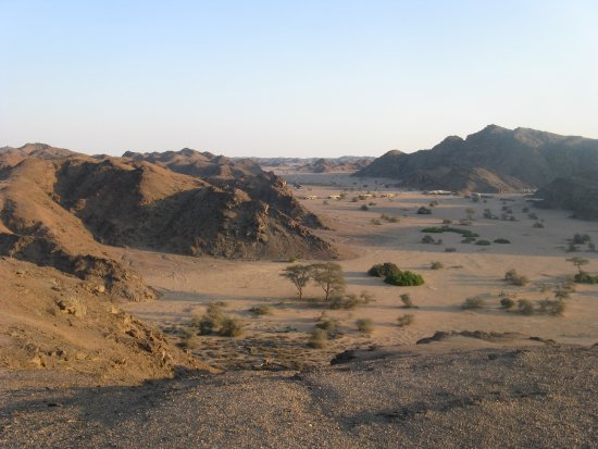 Skeleton Coast Park, Namibia: Camp setting. A view from nearby mountain.