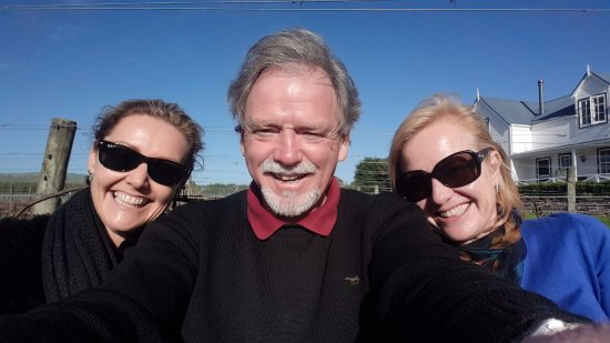 Host Roger with guests (Lisa and Audrey) on a stunning Martinborough winter day