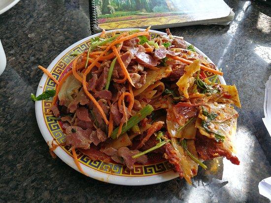 Monterey Park, Californië: Salade froide de boeuf avec piment/coriandre