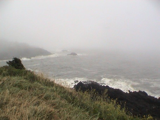 Depoe Bay, Oregón: The first viewing area, Rodea Point, fog and all