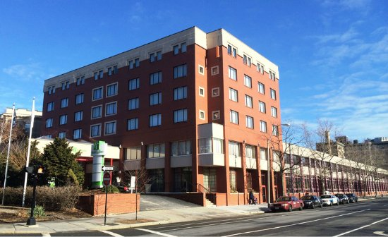 Brookline, MA: Exterior view of hotel located on the Green Line of the T (MBTA)