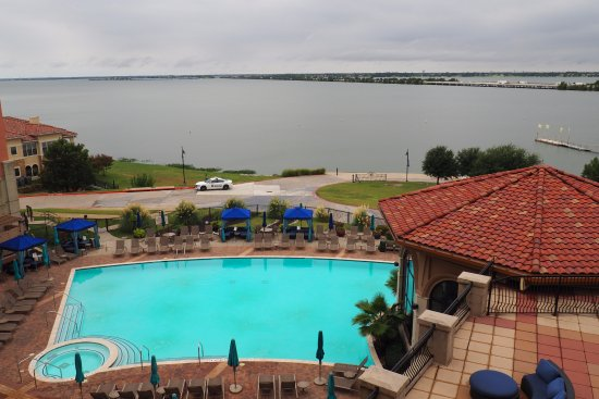 Rockwall, TX: Pool, cabanas and lake as viewed from fourth floor balcony.