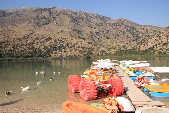 Fun boats at Lake Kournas