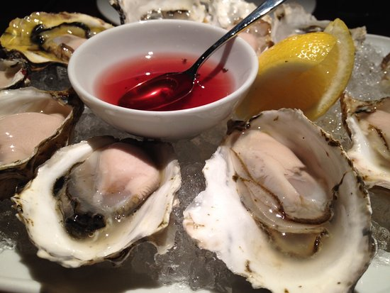 Araxi Restaurant & Oyster Bar : BC Read Island Oysters with raspberry mignonette