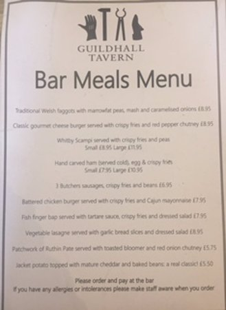 Denbigh, UK: Bar Menu