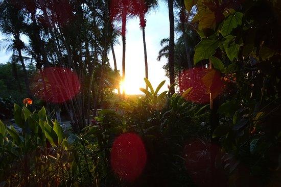 Hotel La Laguna del cocodrilo: Blick von der Zimmerterrasse auf Pazifik und Sonnenuntergang