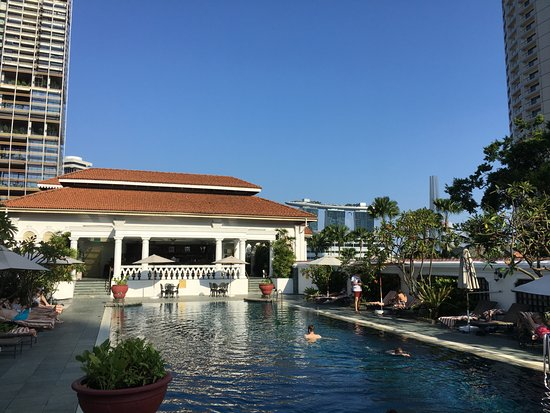 Marina Bay Sands From The Pool Picture Of Raffles Hotel Singapore Singapore Tripadvisor