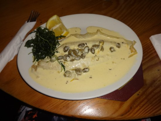 The Peacock Inn: Lemon Sole in a lemon and caper butter - it does come with sides of potato and salad