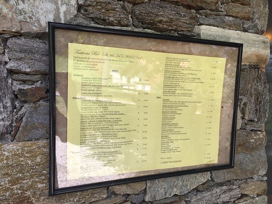 lista menu\' esterna - Picture of Bel Sit, Colico - TripAdvisor