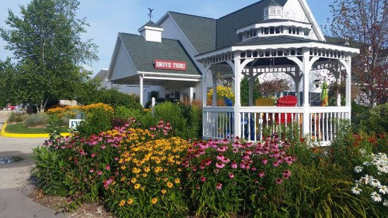 Door County Coffee and Tea Co.: Our beautiful gazebo scene leading you to the drive thru for your early morning coffee fix!
