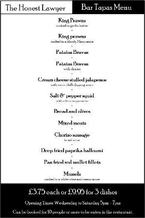 Scunthorpe, UK: Tapas menu