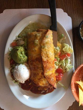 Kayenta, AZ: The Chimichanga with a Christmas sauce. Their staple Red and Green Salsa