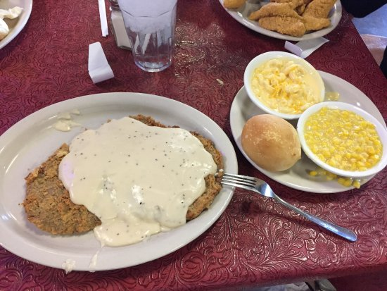 Denton, TX : Full order of Chicken Fried Steak, with mac & cheese and creamed corn