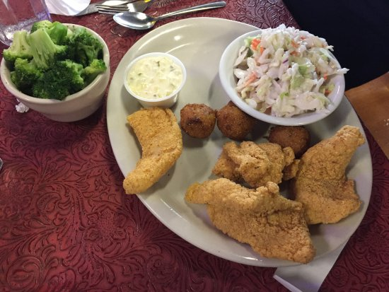 Denton, TX : Fried Catfish with hush puppies and coleslaw