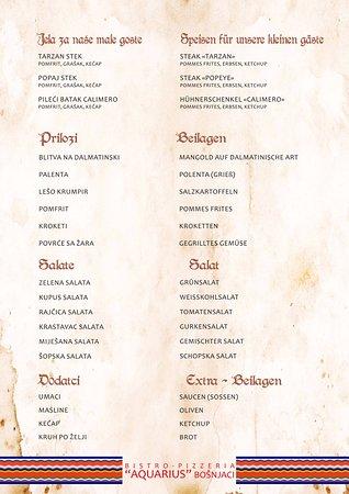 Bosnjaci, Croacia: jelovnik - menu