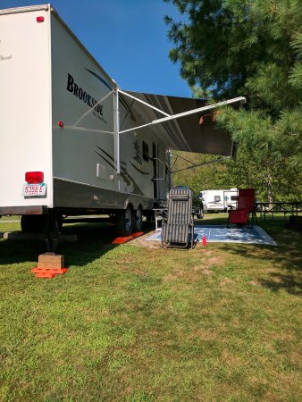 East Lyme, CT: our camp site on the side with the pond