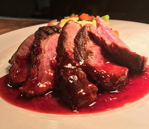Bristol, RI: Duck breast special over spetzel with a raspberry port reduction