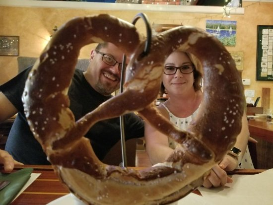 Bristol, RI: The big Bavarian pretzel, and Claus & Katie at the bar.