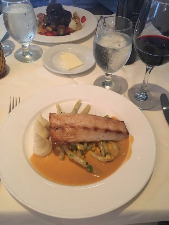 Ramsey, NJ: Fish Special with lobster sauce and fresh local vegetables