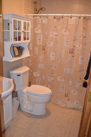 Bathroom features walk in double shower.