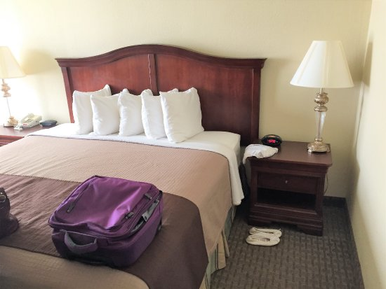 Best Western Plus Burlington: Double bed and night stand