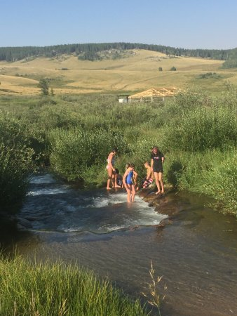 Buffalo, WY: The kids loved hopping from the pool to the creek!