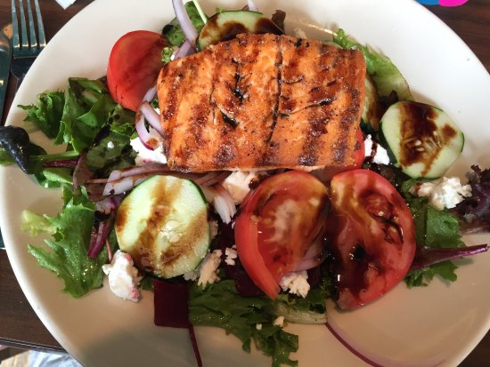 Ortonville, MI: Roasted beet salad, fest cheese and salmon.