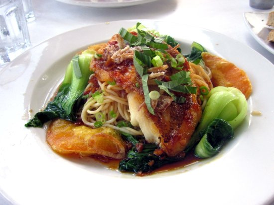 Fort Washington, PA: Red Snapper w/ Crispy Rice Scallion Pancake, Bok Choy & Rice Noodles