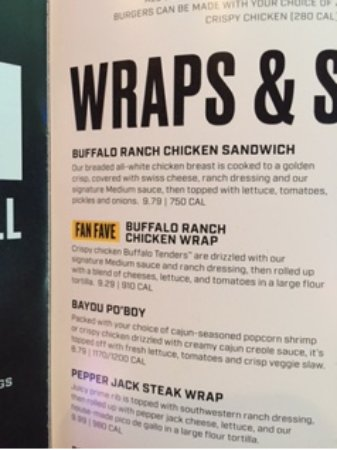 Buffalo Wild Wings: Wrap Menu