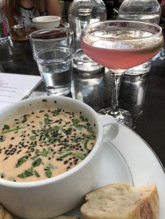 Shuga's Restaurant: Brazilian Shrimp Soup, crusty bread, Lavender Blossom Cocktail